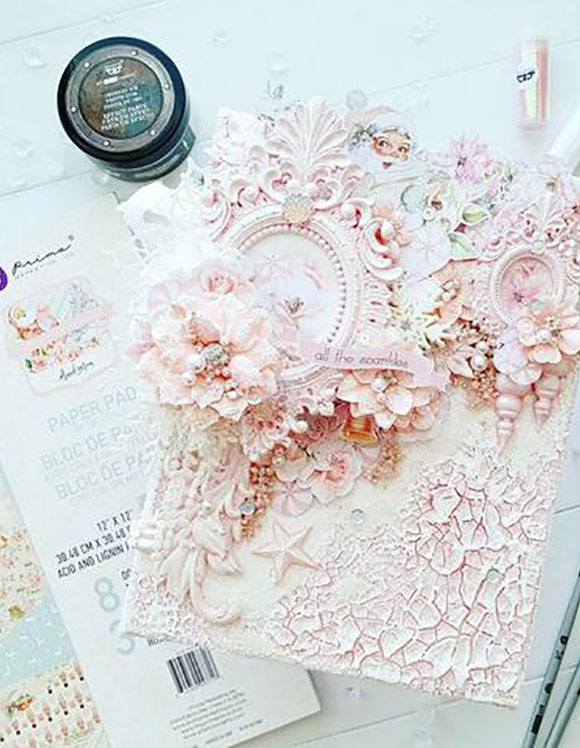 Flowers and Embellishments on a greeting card